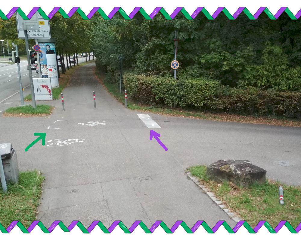 Unfallmarkierung an der Stresemann-Straße Nr.2