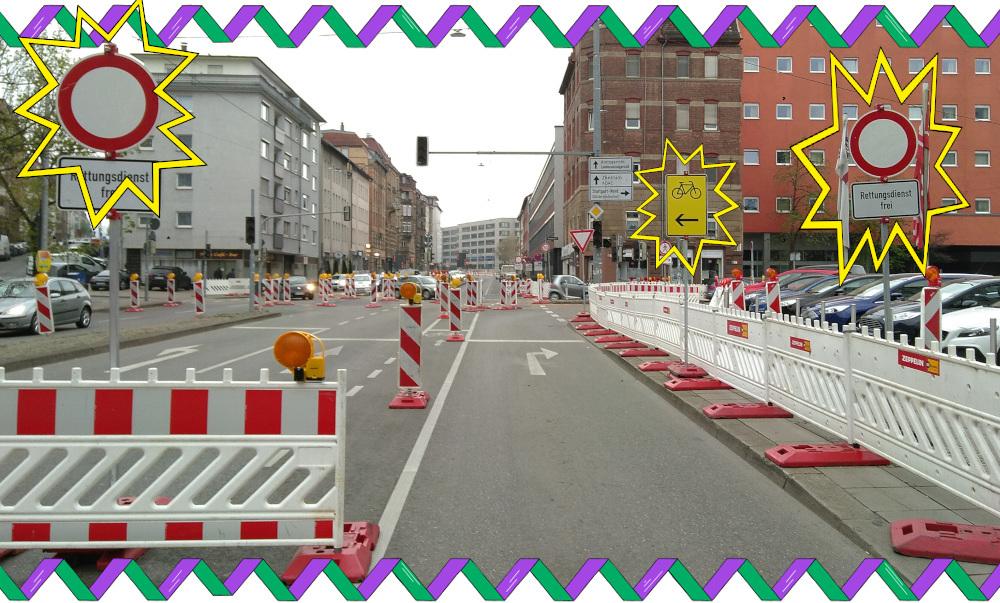 Fahrrad-Umleitung nach dem Durchfahrtsverbot