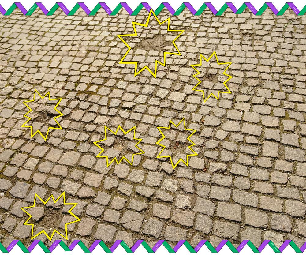 andere Steine fehlen im Pflaster komplett
